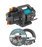 GARDENA Gartenpumpe 3000/4 Basic Set: 600W Leistung, 3,5 bar max. Druck, ideal zur Gartenbewässerung geeignet, Regneranschluss möglich, Set mit 3,5m Sauggarnitur und 20m Classic Schlauch (9011-47)