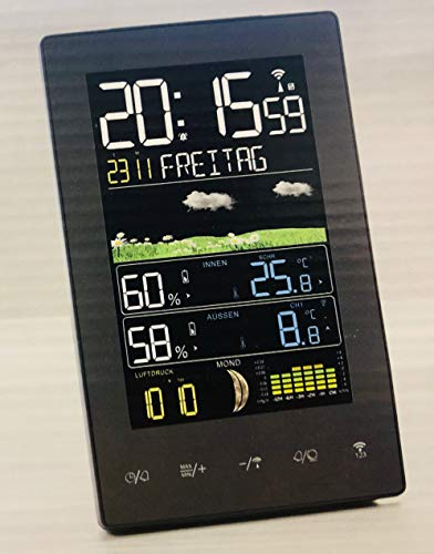 Globaltronics Funk-Wetterstation mit großem Farbdisplay/Batterie und Netzbetrieb (schwarz hochkant)