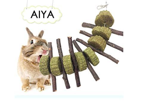 AIYA Bunny Chew Toys, 100% Natural & Organic Apple Sticks, Helps Improve Dental