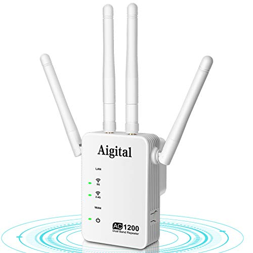 Aigital WiFi Extender, Ripetitore WiFi velocità 1200Mbps Dualband 2.4G/5G Amplificatore Segnale WiFi con 4 antenne Esterne, WPS,Porta Ethernet Compatibile con Modem Router Fibra e ADSL-WN1222