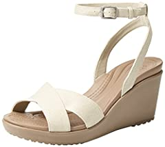 A more feminine style with the comfort you love 3.4 inch / 85mm wedge heel with rubber tap Dual Crocs Comfort: Blissfully supportive; Soft; All day comfort