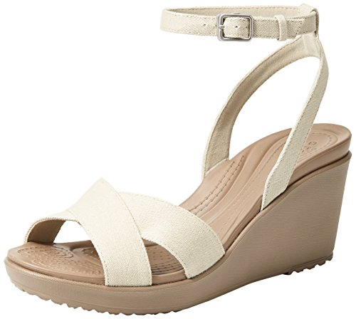 Crocs Women's Leigh II Cross-Strap Ankle Wedges Sandal, Oatmeal/Mushroom, 10