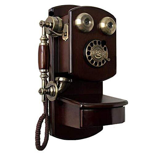 bottl Teléfono de la tarjeta inalámbrica montado en la pared, europeo antiguo antiguo de madera rotatoria teléfono vintage modelo retro stand decoración del hogar ornamento