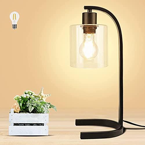 Depuley Lámpara de mesa LED E27 para dormitorio, color negro, con interruptor de presión, hierro, base en forma de U, lámpara de noche vintage para niños, para salón, oficina, estudio, lectura
