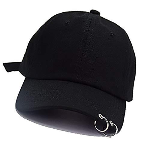 Baseball Cap K-Pop Bangtan Boys Außen Eisen Ring Hysteresen-Hut Lässige Adjustable Vati-Hut Hip Hop-Hut (schwarz)