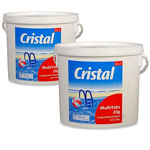 Cristal Set 2x MultiTabs 20g - 5 kg, Wasserpflege, Poolpflege, Chlor, Multifunktionspflege, Bayrol