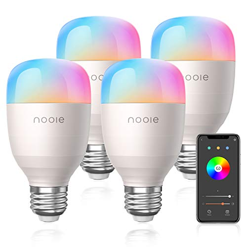 Smart Lampe WLAN Glühbirnen Wifi LED Weiches Weiß 2800K-6000K RGB Birne 10W 800LM UL Listed Kompatibel mit Amazon Alexa, Kein Hub Erforderlich Dimmbares Mehreren Farben Nachtlicht E2 (4 Stück)