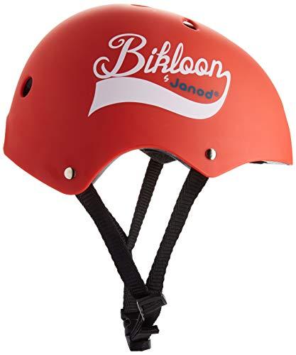 Janod - Bikloon casco per bici rosso, per bici e bici senza pedali, per bambini, taglia S, girotesta regolabile da 47 a 54 cm, 11 fori di ventilazione, per bambini dai 3 anni in su, J03270