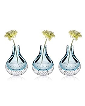 CONVIVA Bud Vase Decorative Flower Glass Vase with Air Bubbles Handblown Thick Glass Centerpiece for Wedding Party Dining Room Office Tabletop,Light Blue 5.3 inch H Set of 3