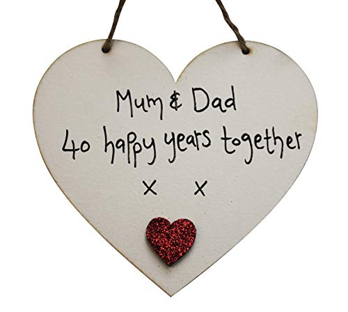 MadeAt94 Parents 40th Anniversary Ruby Wedding Heart Sign Gif