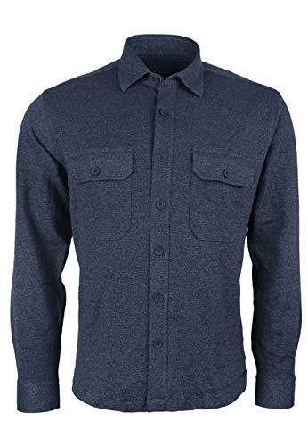 Roy Robson Herren Overshirt Hemd aus Baumwollmix Langarm Stretch - Regular Fit (Dunkelblau, M)