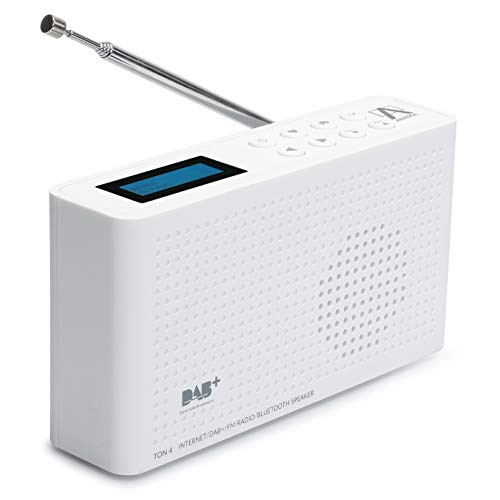 Anadol 4in1 IDR-1 Radio - tragbares Internetradio - DAB / DAB+ und FM fähig - Bluetooth-Lautsprecher & Wifi - tragbare Musikbox mit integriertem Akku - Mini-Radio mit Kopfhöreranschluss - weiß