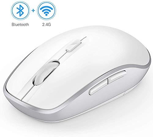 Jelly Comb Bluetooth und 2.4G Kabellose Maus, Dual Modus Funk Computermaus für Laptop/PC/Smart TV/Tablets/Handy, Weiß und Silber