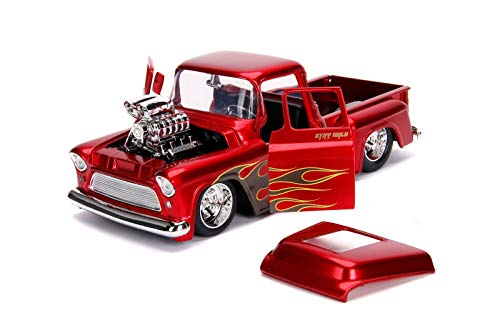 1955 Chevrolet Stepside Pickup Truck with Blower Candy Red with Flames Just Trucks Series 1/24 Dieca - http://coolthings.us