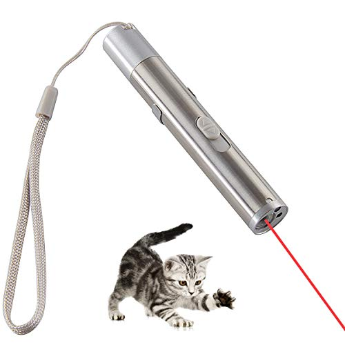 Lavibest 1Pc 3 in 1 Red Dot Cat Toy USB Charging Interactive Pet Chaser Tool LED Light Training Exercising Interesting Toys, Silver