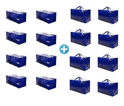 VENO 16 Packs Heavy Duty Large Storage Moving Bags Bundles, 8 Packs of Large Moving Bags with Strap and 8 Packs Oversize Moving Storage Bags