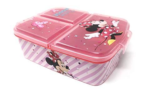 Theonoi Fiambrera infantil con 3 compartimentos/subdivisión sin BPA (Minnie Mouse)