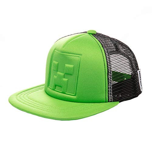JINX Minecraft Who's Deboss Creeper Snapback Baseball Hat, Green, Youth Fit