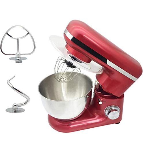 GPWDSN Küchenmaschine, 4 L Edelstahl Rührschüssel, 6-Gang-1500W Tilt-Head Food Mixer, Küchen Rührbesen Knethaken, Schneebesen Beater (rot)