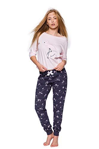 SENSIS modischer Baumwoll-Pyjama Schlafanzug Hausanzug aus lässigem Shirt und gemütlicher Hose, Made in EU (S (36), Rosa/Dunkelblau mit Flamingos)