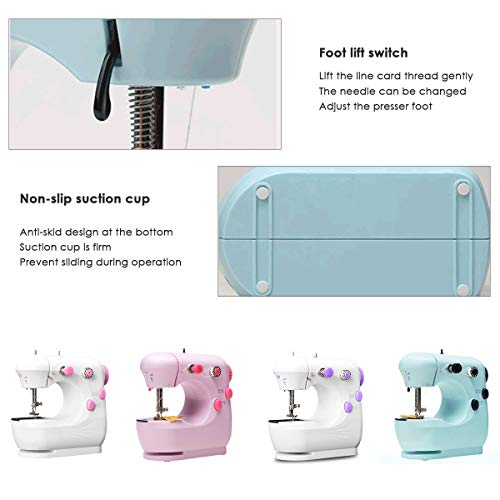 Sewing Machine Handheld Portable Electric Sewing Machines for Kids Childrens Beginners, Adjustable 2-Speed with Foot Pedal Embroidery Machine for Home Sewing (Green)