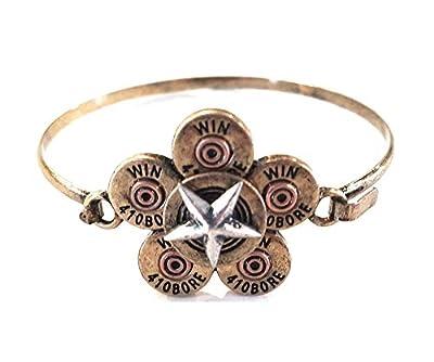 True Decor Winchester 12 GA Gauge Bullet Bracelet Western Cowgirl Jewelry Jp (Cross Silver Tone)