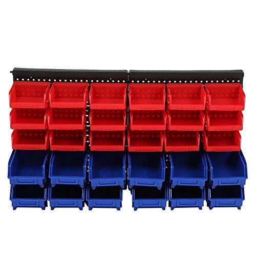 LANTRO JS - Almacenamiento de pared, 30 contenedores de pared, organizador de contenedores de piezas con juego de paneles, almacenamiento de taller para garaje, sistema de almacenamiento de taller y p