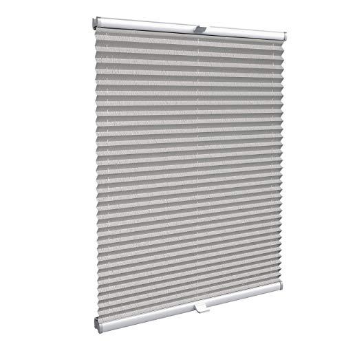 Konfigurieren Sie Ihr eigenes Plissee zum Kleben | Plissee ohne Bohren nach Maß für Türen & Fenster | Sichtschutz für Fenster, Blickdichte Rollos in Crushed Optik