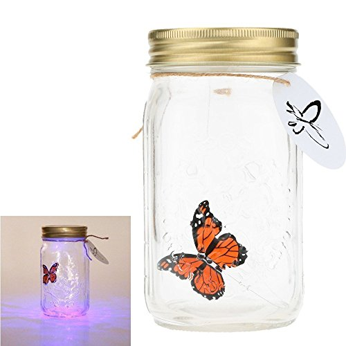 dingdangbell Romántica lámpara LED romántica cristal animado mariposa tarro de San Valentín niños decoración regalo (naranja)