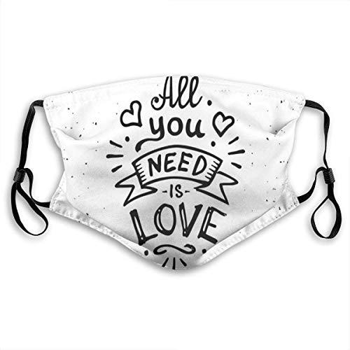 Masker, vintage-stijl, alles wat je nodig hebt, is liefde retro spreuk hippie in basislook, gezichtsdecoraties.