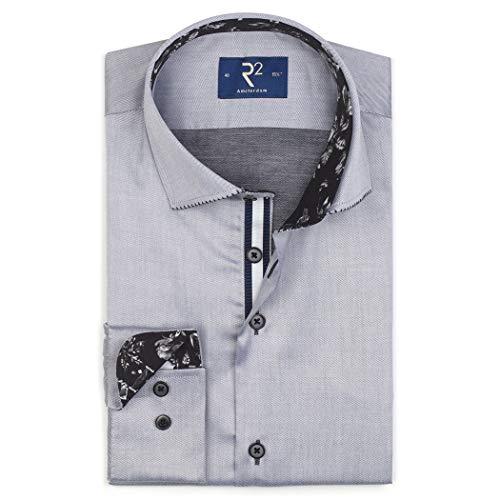 R2 Amsterdam Herren Business Hemd grau mit modischen Details, Farbe:Grey 028, Größe:45