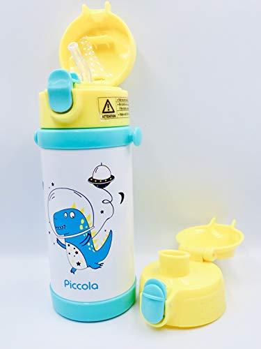 Piccola Kids Botella de Agua aislada al vacío, con 2 Tapas, Paja y Boquilla, Correa Ajustable para el Hombro, a Prueba de Fugas, sin BPA, 12 oz o 350 ml, Llama Rosa, Dino Espacial