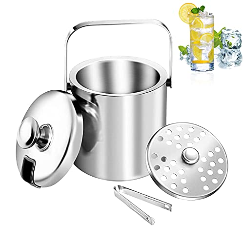 Ice Buckets with Lids and Tongs, Ice Buckets for Bars, Ice Buckets for Parties, 1.3L Ice Bucket Insulated Double Walled Drink Cooler, Great for Party and Picnic