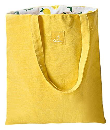 ASFINS Bolsa Tote Tela, Bolsa de Lona Mujer Bolsa Tote Bolsa de Algodón Reutilizable para Las Compras Salir, 40cm x 36cm (Limón Amarillo)