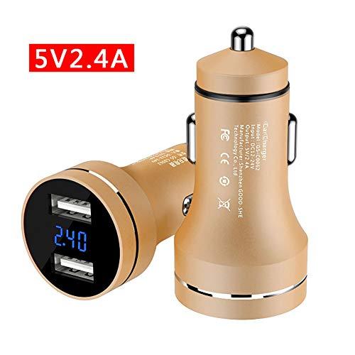 FJW 5W 2.4A Chargeur de Voiture Double Port Adaptateur de Voiture USB avec la Technologie de Charge Intelligente adaptative avec Surveillance de Tension LED pour Voiture 12V-24V,Metallic