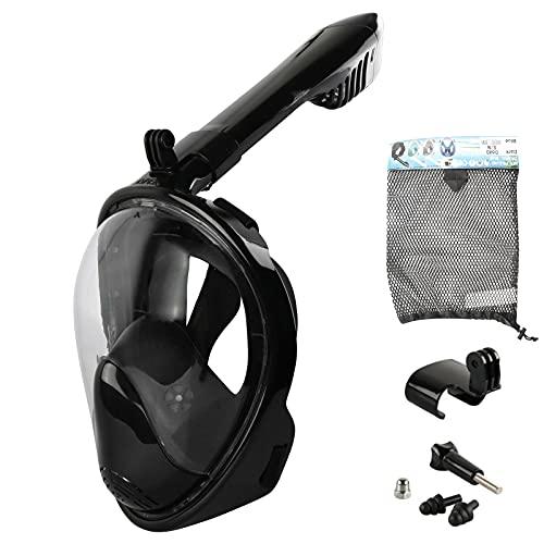 Insputer Máscara de Buceo Máscara Snorkel Gafas Buceo Vista Completa Antivaho y Compatible con Fugas Gafas Snorkel con Soporte de Cámara Gafas de Buceo Adulto y Niños (Negro, S M)
