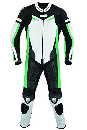 BULLDT Fluoreszierender Einteiler Motorradkombi Motorrad Lederkombi aus Rindsleder echtleder Kombi, Größe:54/XL, Farbe:Grün