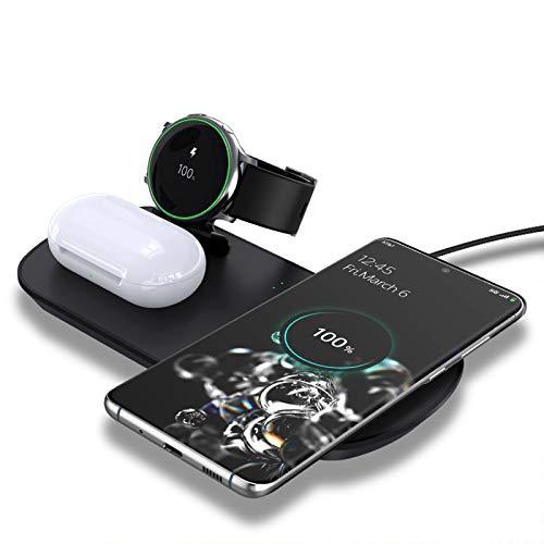 LAHappy Cargador Inalámbrico, 3 en 1 Qi Compatible Carga Rápida, 10W Cargador de Inducción para Samsung Galaxy Buds Active/Active2 Samsung S20/S20+ iPhone 12/11