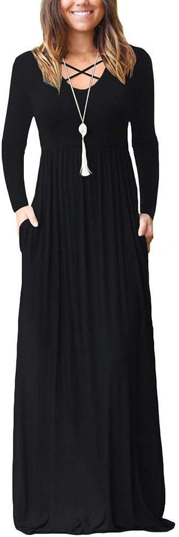 EZBELLE Women's Long Sleeve Maxi Dresses with Pockets Plain Loose Long Dresses