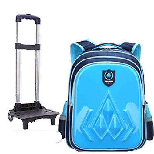 ZZLHHD Trolley School Bag,Children's removal bag, wear-resistant tie backpack-Blue B_Two rounds,Cartoon Trolley Backpack