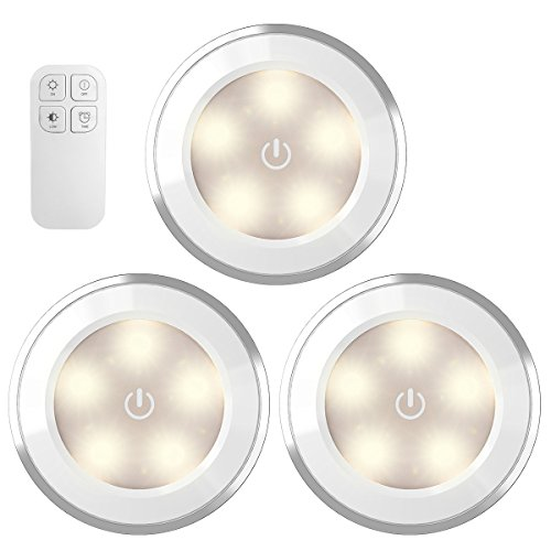 AMIR Wireless LED Puck Light with Remote Control, Under Cabinet Lighting, Closet Night Light, Touch Switch Energy Saving Night Light for Bedroom, Lockers, Stair (3 Pack, Battery Not Included)