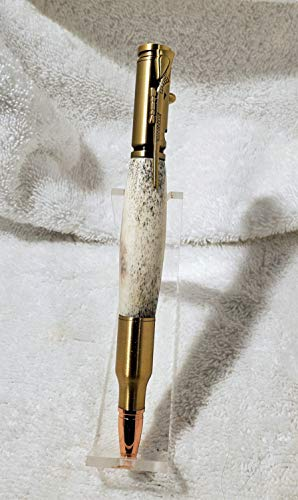 30 Caliber Bolt Action Pen In Deer Antler - Handmade