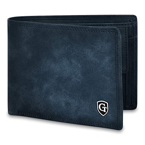 GenTo® Manhattan Protección RFID y NFC - Billetera de Hombre con Compartimento para Monedas - Cartera espaciosa - Cartera de Hombre - Cartera con Caja de Regalo