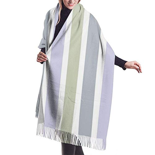 Giles John Winter Schal Damen Warm Baumwolle Vertikale Streifen Lila Grau Pashmina...