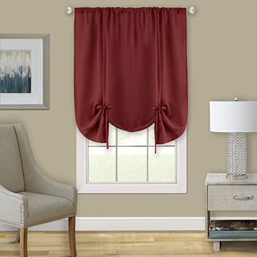 GoodGram Shabby Linen Farmhouse Semi Sheer Flax Curtain Tie Up Window Shade - Assorted Colors (Country Burgundy)