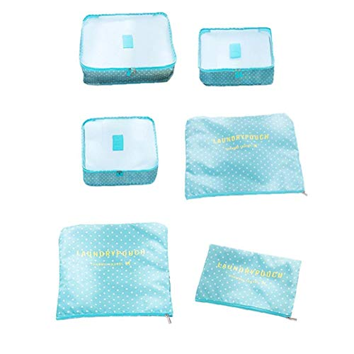 Packing Cubes Travel Storage Bags Trip Luggage Organizer Pouches for Clothes Blue Dot Pattern 6Pcs Utilities Practical Tool