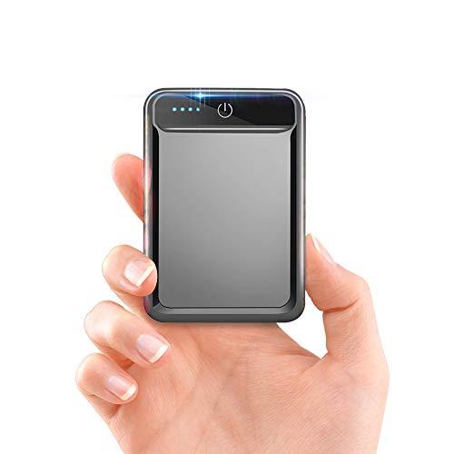 モバイルバッテリー 大容量 小型 10000mAh 【PSE認証済】急速充電 2.1A スマホ充電器 軽量 USB2ポート 2台同時充電可能 LED液晶画面 残量表示 携帯充電器 iOS/Android対応(グレー)