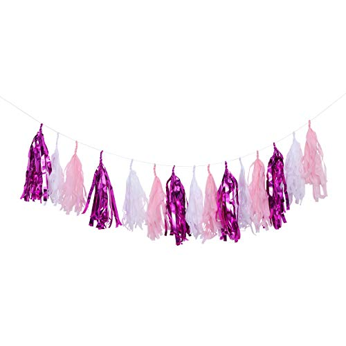 Amosfun Paper Tassels Garland 35CM Party Banner Hanging Decoration with 2.5M Hemp Rope Wedding Birthday Baby Shower Party Supplies (Light Pink+White+Rosy) 15 Pcs