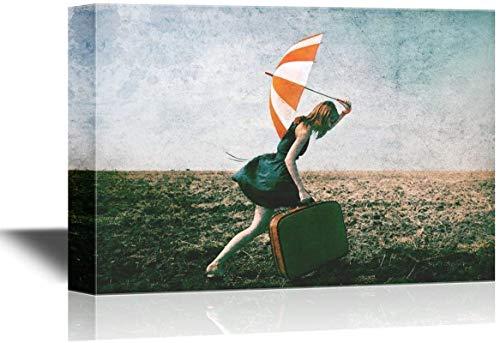 Arte de pared de lienzo - La dama con un vestido rojo con una maleta y un paraguas va a un tren - Abrigo de galería Arte moderno para el hogar | Listo para colgar a chica solitaria con -18×12inch