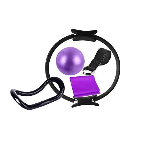 Yoga Circle equipo portátil 6pcs Pilates anillo conjunto de ejercicios en el hogar equipo de gimnasio mujeres incluyen bola banda elástica banda banda antideslizante calcetines para kit de fitness